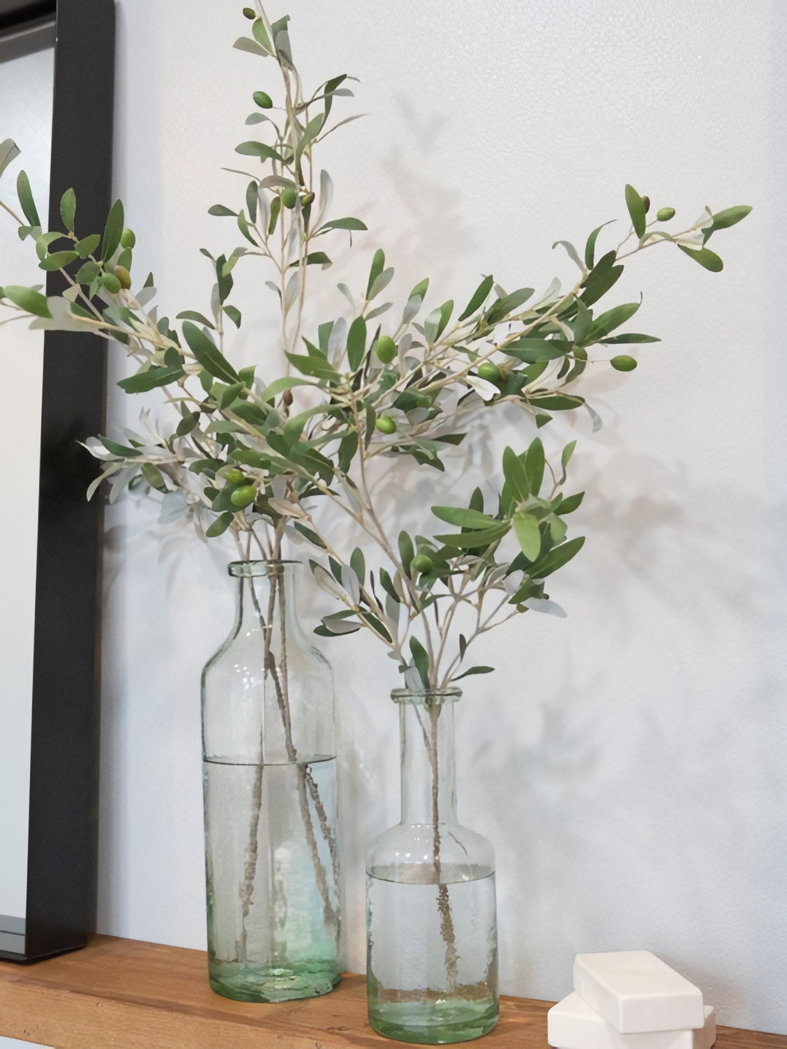 Fresh Olive in a Clear Vase