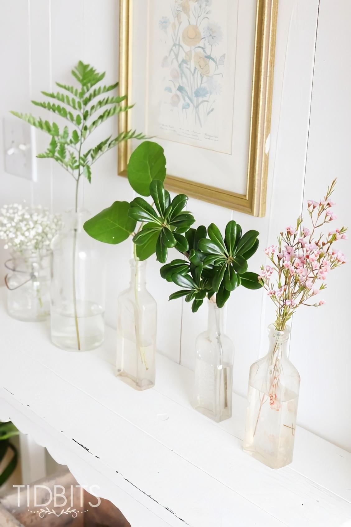 Leatherleaf, Salal, Pittosporum, and Waxflower on a white shelf